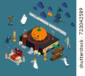 colored monster halloween...   Shutterstock .eps vector #723042589