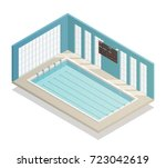 swimming pool deep bath lanes... | Shutterstock .eps vector #723042619