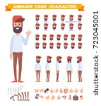 bearded guy  hipster. front ... | Shutterstock .eps vector #723045001