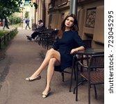 lovely young brunette woman ...   Shutterstock . vector #723045295