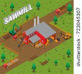 colored sawmill timber mill... | Shutterstock .eps vector #723045307
