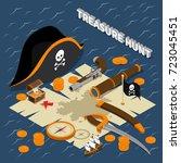 treasure hunt isometric...   Shutterstock .eps vector #723045451