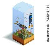 scuba diving snorkelling... | Shutterstock .eps vector #723045454