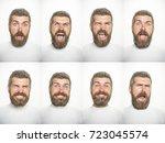 emotion set of bearded scared...   Shutterstock . vector #723045574