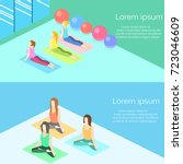 isometric interior of yoga... | Shutterstock .eps vector #723046609