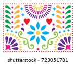 mexican folk art vector pattern ... | Shutterstock .eps vector #723051781