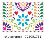 mexican folk art vector pattern ... | Shutterstock .eps vector #723051781