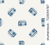 tape recorder  cassette... | Shutterstock .eps vector #723054787