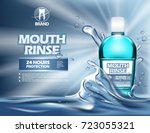 realistic bottle for mouthrinse ... | Shutterstock .eps vector #723055321