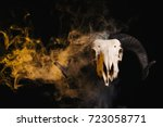 ram skull with horns and yellow ... | Shutterstock . vector #723058771