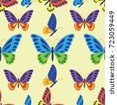beautiful butterfly seamless... | Shutterstock .eps vector #723059449