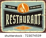 restaurant sign with knife and...   Shutterstock .eps vector #723074539