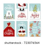 christmas gift cards or tags... | Shutterstock .eps vector #723076564