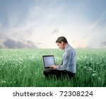 businessman on a green meadow... | Shutterstock . vector #72308224
