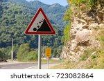 Stone fall warning sign