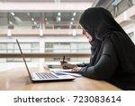 arabian businesswoman working... | Shutterstock . vector #723083614