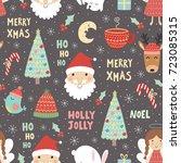 funny christmas seamless... | Shutterstock .eps vector #723085315