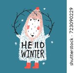 funny white winter sheep with... | Shutterstock .eps vector #723090229