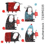 knitting crafty sheep scribble... | Shutterstock .eps vector #723090235