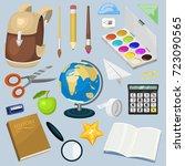 school supplies stationary... | Shutterstock .eps vector #723090565