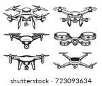 drone  logo design  emblem | Shutterstock .eps vector #723093634