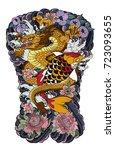 japanese tattoo design full... | Shutterstock .eps vector #723093655
