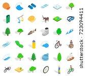 animal icons set. isometric... | Shutterstock .eps vector #723094411