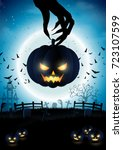 happy halloween pumpkins on... | Shutterstock .eps vector #723107599