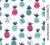 pineapple seamless pattern. kid ... | Shutterstock .eps vector #723108271