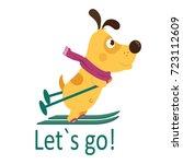 yellow dog symbol 2018.cartoon...   Shutterstock .eps vector #723112609
