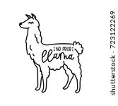 Llama Cute Card With Cartoon...