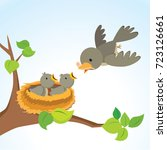 mother bird feeding baby birds | Shutterstock .eps vector #723126661