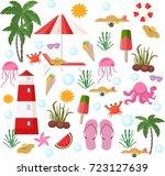 summer set vector. beach stuff...   Shutterstock .eps vector #723127639