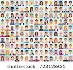 portraits of different people ... | Shutterstock .eps vector #723128635