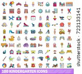 100 kindergarten icons set in...