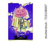 happy halloween poster. vector... | Shutterstock .eps vector #723138007