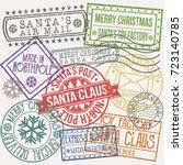 santa claus post stamp merry... | Shutterstock .eps vector #723140785
