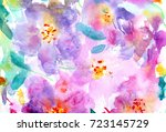hand made floral watercolor... | Shutterstock . vector #723145729