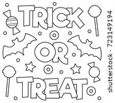 trick or treat. coloring page.... | Shutterstock .eps vector #723149194