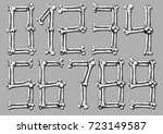 graphic white realistic bones... | Shutterstock .eps vector #723149587