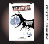 happy halloween poster. vector... | Shutterstock .eps vector #723150565