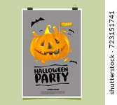 happy halloween poster. vector... | Shutterstock .eps vector #723151741