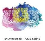 the head of a tiger. meditation ... | Shutterstock .eps vector #723153841