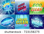 set of 6 high quality laundry... | Shutterstock .eps vector #723158275
