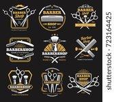 old barbershop vector emblems... | Shutterstock .eps vector #723164425