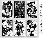 poster set for the jazz... | Shutterstock .eps vector #723164989