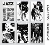 poster set for the jazz...   Shutterstock .eps vector #723164995