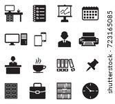 office icons. black flat design.... | Shutterstock .eps vector #723165085