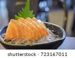 salmon sashimi raw fish... | Shutterstock . vector #723167011
