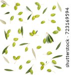 pattern with green olive fruits ... | Shutterstock . vector #723169594